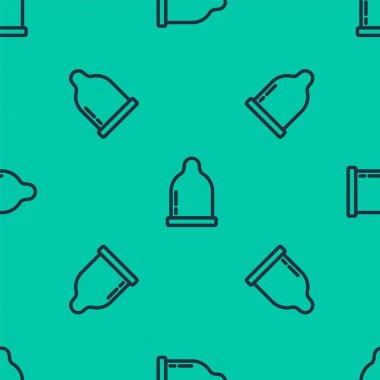Blue line Condom icon isolated seamless pattern on green background. Safe love symbol. Contraceptive method for male.  Vector. icon