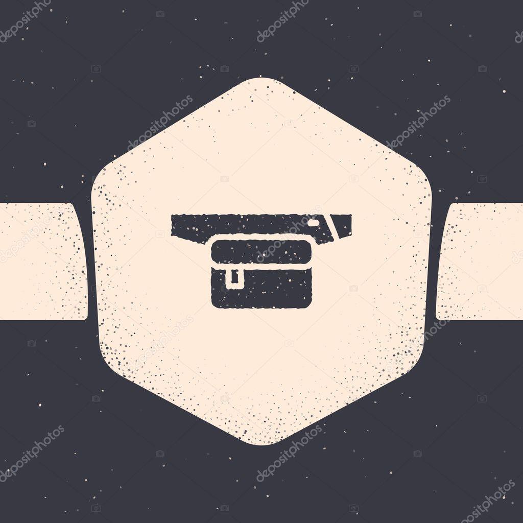 Grunge Waist bag of banana icon isolated on grey background icon
