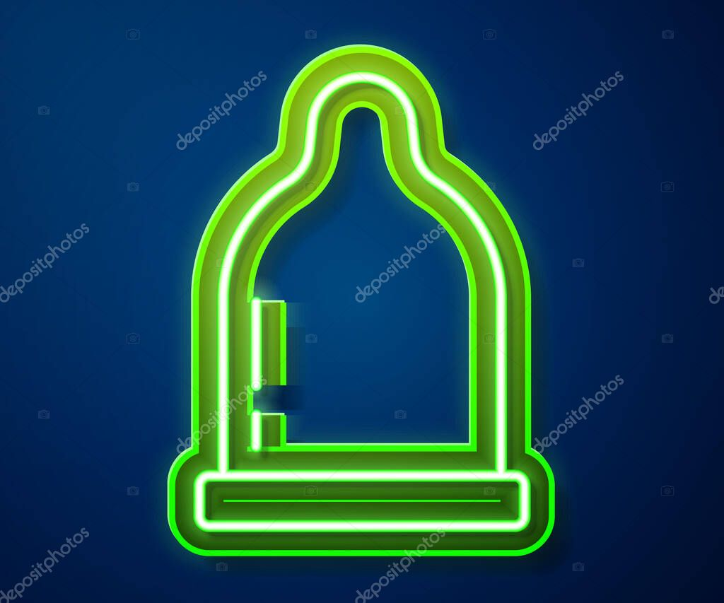 Glowing neon line Condom icon isolated on blue background icon