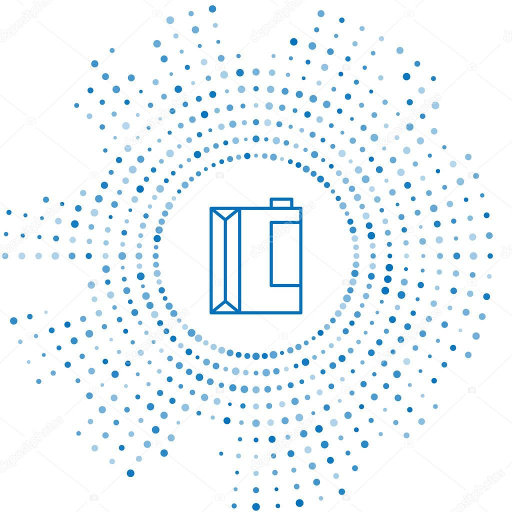 Blue line Paper package for kefir icon isolated on white background icon
