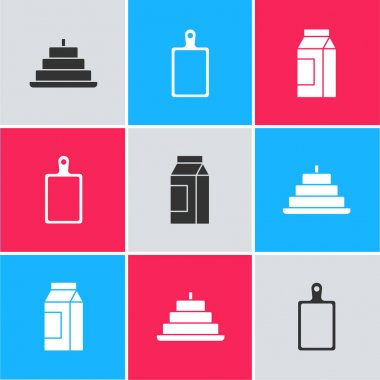 Set Cake with burning candles, Cutting board and Paper package for milk icon. Vector. icon