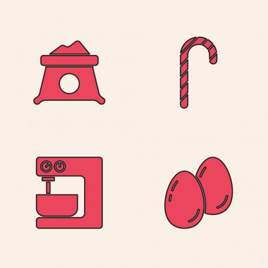 Set Easter eggs, Bag of flour, Christmas candy cane and Electric mixer icon. Vector. icon