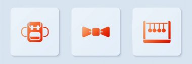 Set Bow tie, School backpack and Pendulum. White square button. Vector. icon