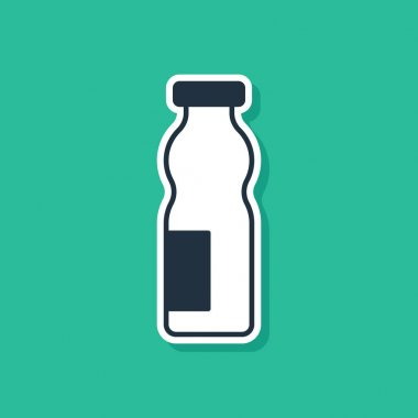 Blue Drinking yogurt in bottle icon isolated on green background.  Vector. icon