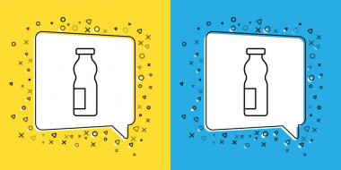 Set line Drinking yogurt in bottle icon isolated on yellow and blue background.  Vector. icon