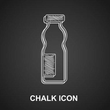 Chalk Drinking yogurt in bottle icon isolated on black background.  Vector. icon