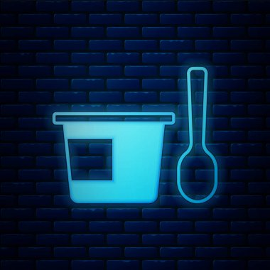 Glowing neon Yogurt container with spoon icon isolated on brick wall background. Yogurt in plastic cup.  Vector. icon