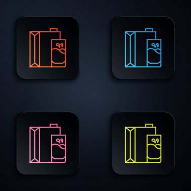 Color neon line Paper package for milk and glass icon isolated on black background. Milk packet sign. Set icons in square buttons. Vector. icon