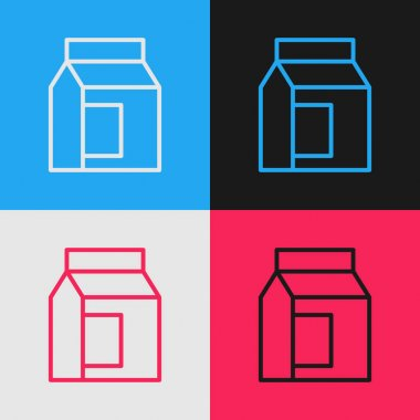 Pop art line Paper package for milk icon isolated on color background. Milk packet sign.  Vector. icon