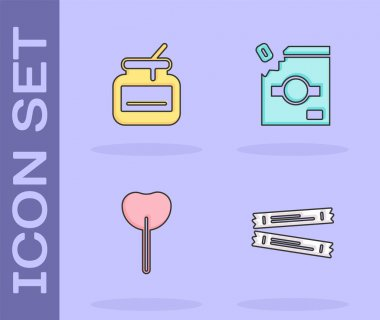 Set Sugar stick packets, Jar of honey, Lollipop and Candy packaging for sweets icon. Vector. icon