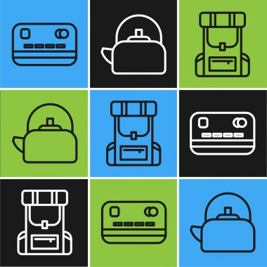 Set line Credit card, Hiking backpack and Kettle with handle icon. Vector. icon