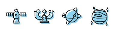 Set line Satellites orbiting the planet Earth, Satellite, Solar system and Planet Venus icon. Vector.