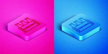 Isometric line Bottled milk packed in wooden box icon isolated on pink and blue background. Square button. Vector. icon