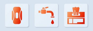 Set Water tap, Sanitary napkin and Wet wipe pack. White square button. Vector. icon