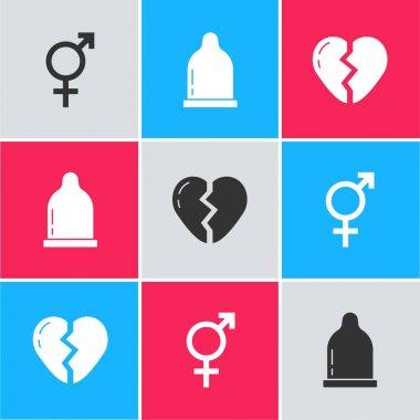 Set Gender, Condom and Broken heart icon. Vector icon
