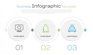 Set line Like and heart, Condom and Wedding cake with. Business infographic template. Vector icon