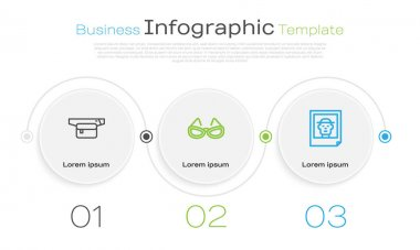 Set line Waist bag of banana, Glasses and Photo. Business infographic template. Vector icon
