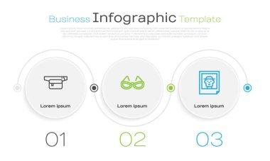 Set line Waist bag of banana, Glasses and Photo. Business infographic template. Vector icon