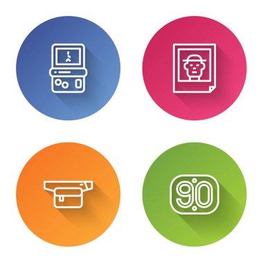 Set line Tetris, Photo, Waist bag of banana and 90s Retro. Color circle button. Vector icon