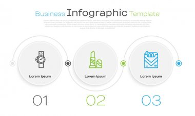 Set line Wrist watch, Lipstick and Cigarettes pack box. Business infographic template. Vector icon