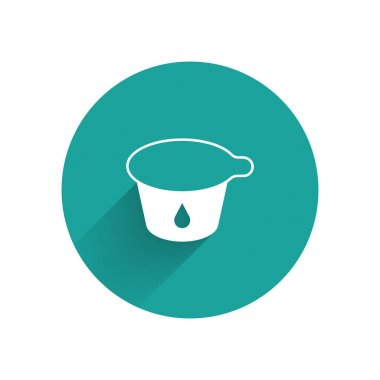 White Yogurt container icon isolated with long shadow. Yogurt in plastic cup. Green circle button. Vector. icon