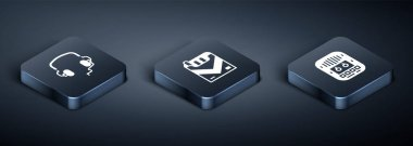 Set Isometric Headphones, Cassette tape player and Cigarettes pack box icon. Vector icon