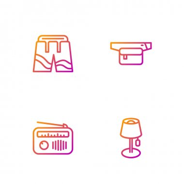 Set line Floor lamp, Radio with antenna, Short pants and Waist bag of banana. Gradient color icons. Vector icon