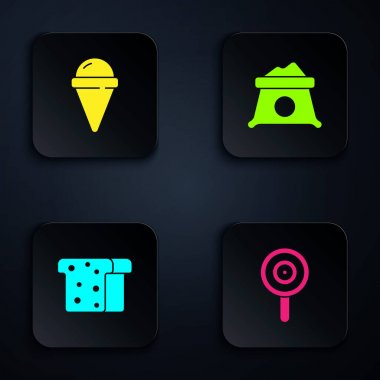 Set Lollipop, Ice cream in waffle cone, Bread toast and Bag of flour. Black square button. Vector. icon