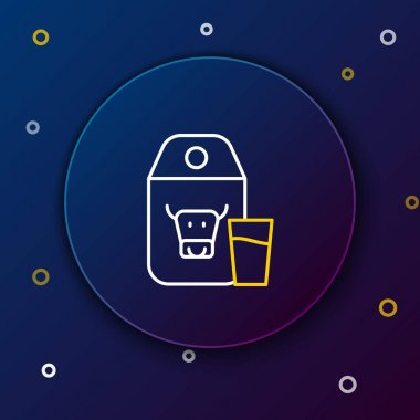 Line Paper package for milk and glass icon isolated on blue background. Milk packet sign. Colorful outline concept. Vector. icon