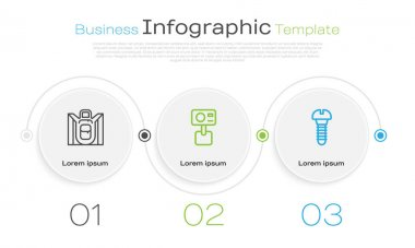 Set line Hiking backpack, Action extreme camera and Metallic screw. Business infographic template. Vector. icon