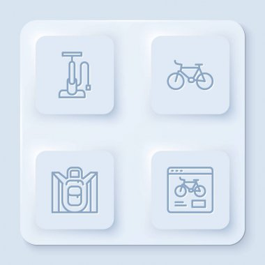 Set line Bicycle air pump, , Hiking backpack and rental mobile app. White square button. Vector. icon