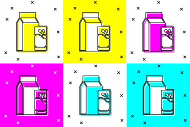Set Paper package for kefir and glass icon isolated on color background. Dieting food for healthy lifestyle and probiotics fulfillment. Vector. icon