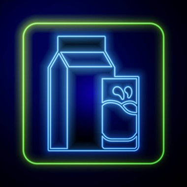 Glowing neon Paper package for kefir and glass icon isolated on blue background. Dieting food for healthy lifestyle and probiotics fulfillment. Vector. icon
