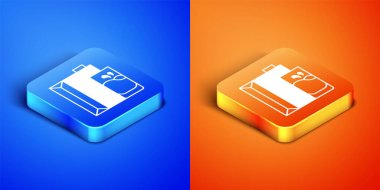 Isometric Paper package for milk and glass icon isolated on blue and orange background. Milk packet sign. Square button. Vector. icon