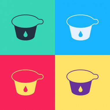 Pop art Yogurt container icon isolated on color background. Yogurt in plastic cup. Vector. icon