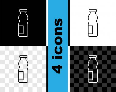 Set line Drinking yogurt in bottle icon isolated on black and white, transparent background. Vector. icon
