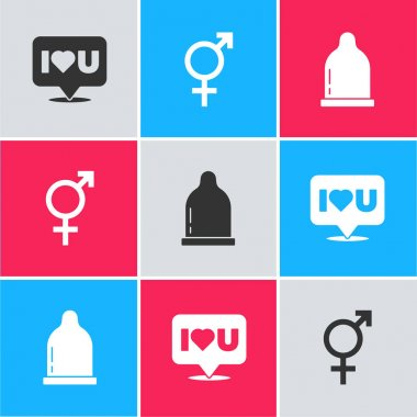 Set Speech bubble with I love you, Gender and Condom icon. Vector. icon