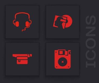 Set Floppy disk, Headphones, Vinyl and Waist bag of banana icon. Vector. icon
