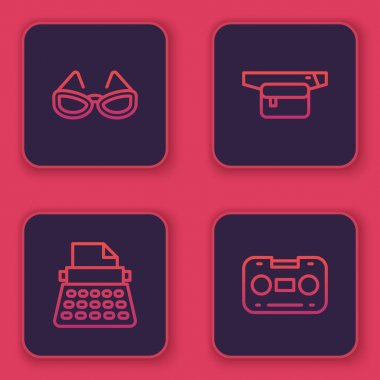 Set line Glasses, Retro typewriter, Waist bag of banana and audio cassette tape. Blue square button. Vector. icon