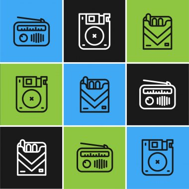 Set line Radio with antenna, Cigarettes pack box and Floppy disk icon. Vector. icon