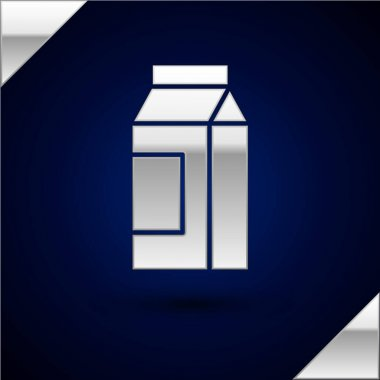Silver Paper package for milk icon isolated on dark blue background. Milk packet sign.  Vector. icon