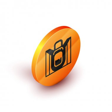 Isometric Hiking backpack icon isolated on white background. Camping and mountain exploring backpack. Orange circle button. Vector. icon