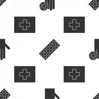 Set Hand with virus, Pills in blister pack and First aid kit on seamless pattern. Vector. icon