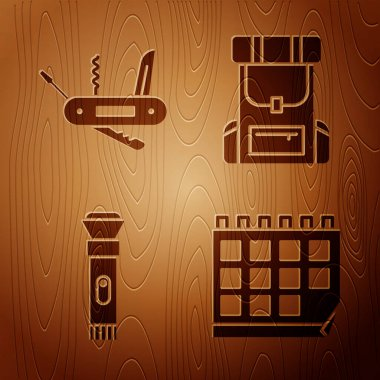 Set Calendar, Swiss army knife, Flashlight and Hiking backpack on wooden background. Vector. icon