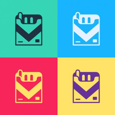 Pop art Cigarettes pack box icon isolated on color background. Cigarettes pack.  Vector. icon