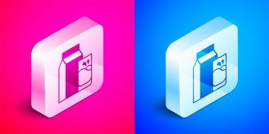 Isometric Paper package for kefir and glass icon isolated on pink and blue background. Dieting food for healthy lifestyle and probiotics fulfillment. Silver square button. Vector. icon