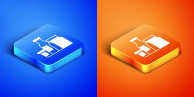 Isometric Milk product icon isolated on blue and orange background. Square button. Vector. icon