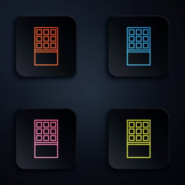 Color neon line Chocolate bar icon isolated on black background. Set icons in square buttons. Vector. icon