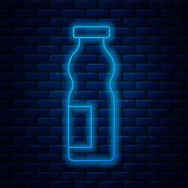Glowing neon line Drinking yogurt in bottle icon isolated on brick wall background.  Vector. icon