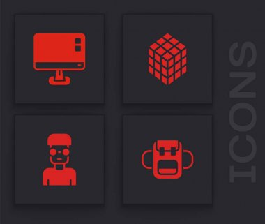Set School backpack, Computer monitor screen, Rubik cube and Nerd geek icon. Vector. icon